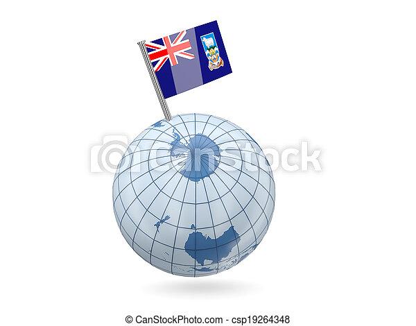 Globe with flag of falkland islands - csp19264348