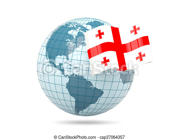Globe with flag of georgia - csp37064357