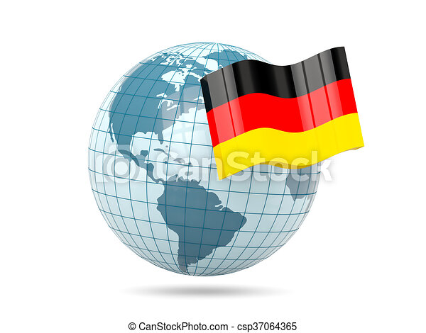 Globe with flag of germany - csp37064365