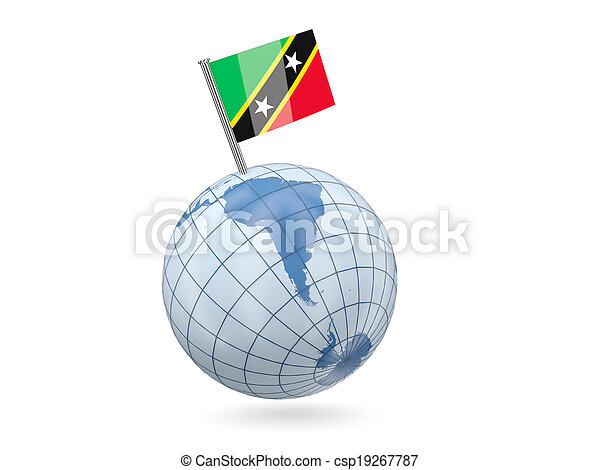 Globe with flag of saint kitts and nevis - csp19267787