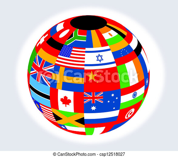 Globe with flags - csp12518027
