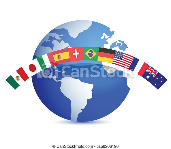 globe with flags illustration - csp8206196