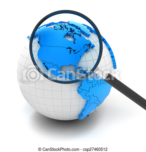 Globe with magnifying glass over north america and usa, 3d ...