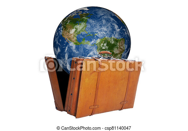 Globe with map of America get out of an open suitcase - csp81140047