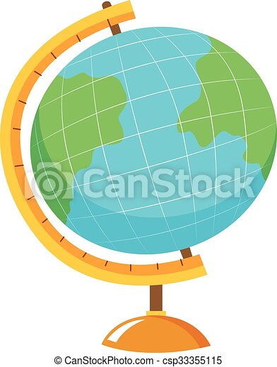 Globe with stand on white background - csp33355115