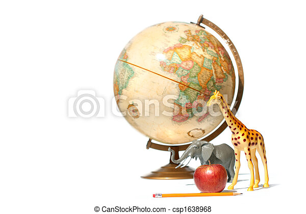 Globe with toy animals and apple on white - csp1638968