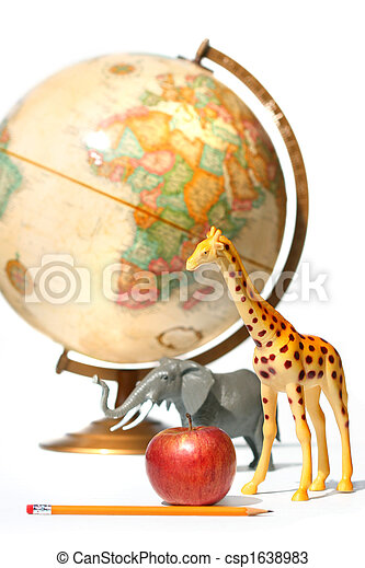 Globe with toys animals on white - csp1638983