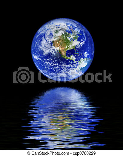 globe with water reflection - csp0760229