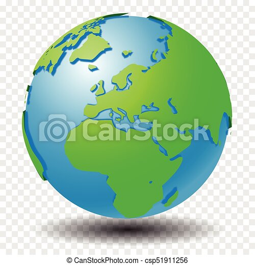 Globe with wold map on transparency grid, middle east, europe - vector  illustration