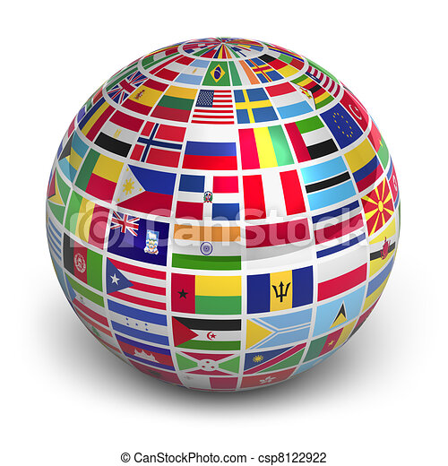 Globe with world flags - csp8122922