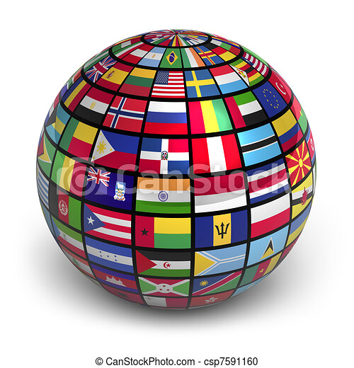 Globe with world flags - csp7591160
