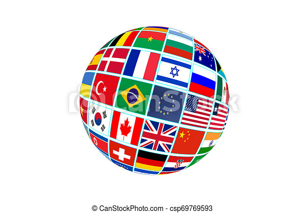 Globe with world flags isolated on white background - csp69769593