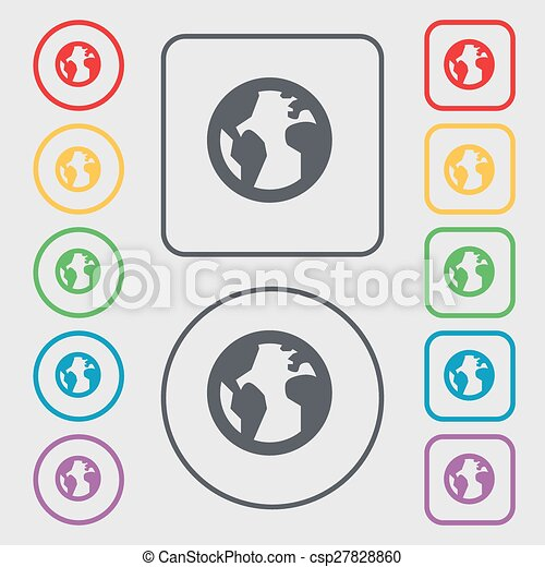 Globe world map geography icon sign symbol on the round clip globe world map geography icon sign symbol on the round and square buttons with frame vector gumiabroncs Images