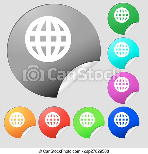 Globe world map geography icon sign set of eight vector globe world map geography icon sign set of eight multi colored round buttons stickers vector gumiabroncs Choice Image