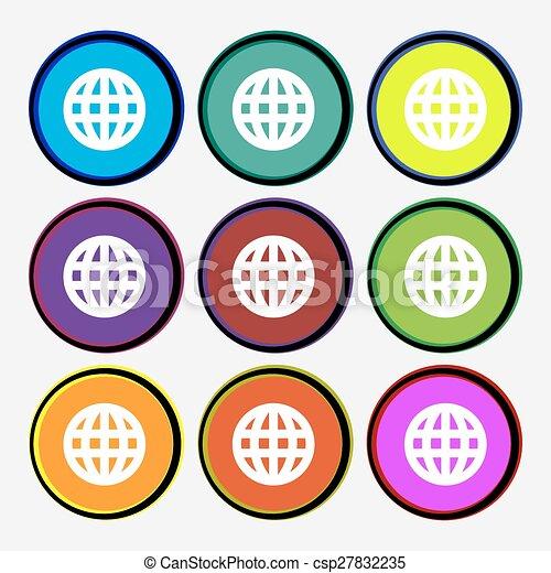 Globe world map geography icon sign nine multi colored vectors globe world map geography icon sign nine multi colored round buttons vector gumiabroncs Images