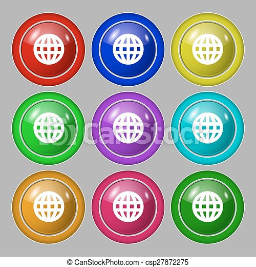 Globe world map geography icon sign symbol on nine round globe world map geography icon sign symbol on nine round colourful buttons vector gumiabroncs Images