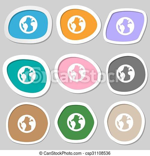 Globe world map geography icon symbols multicolored paper globe world map geography icon symbols multicolored paper stickers vector gumiabroncs Choice Image