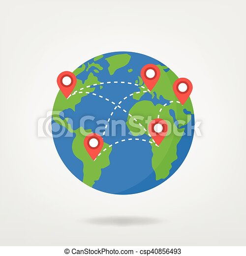 Globe world map with locaction pin points illustration pin globe world map with locaction pin points illustration sciox Images