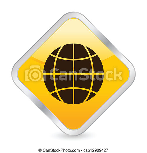 globe yellow square icon - csp12909427