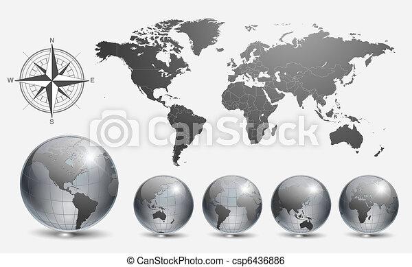globen, weltkarte - csp6436886