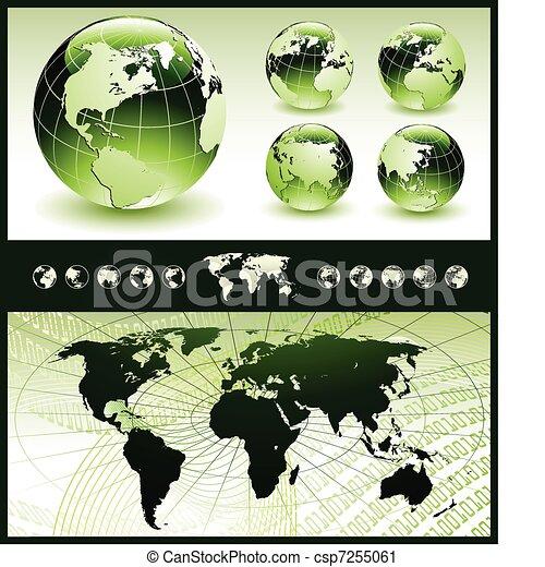 glober, karta, grön, värld - csp7255061