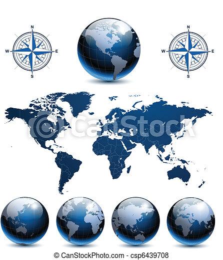 glober, mull, världen kartlägger - csp6439708