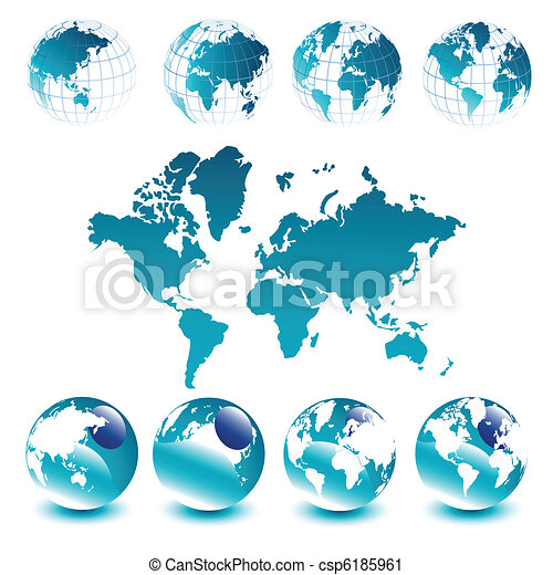 glober, världen kartlägger - csp6185961