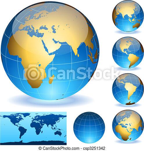 Globes La Terre Détaillé Eps10 Facile éditer Isolé