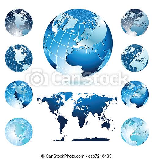 globes, planisphère - csp7218435