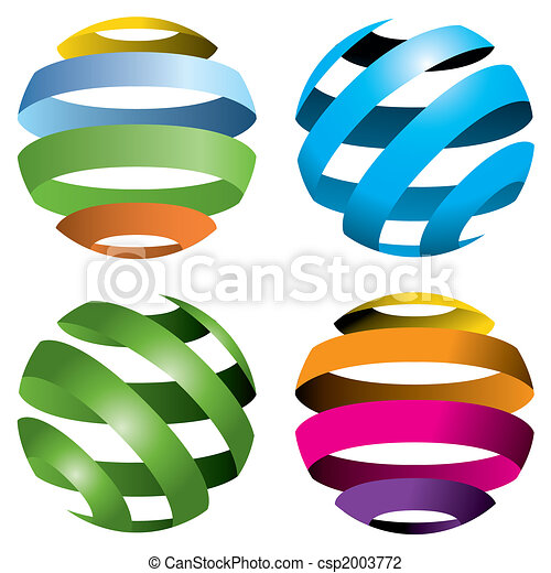 globes, vecteur, 4 - csp2003772