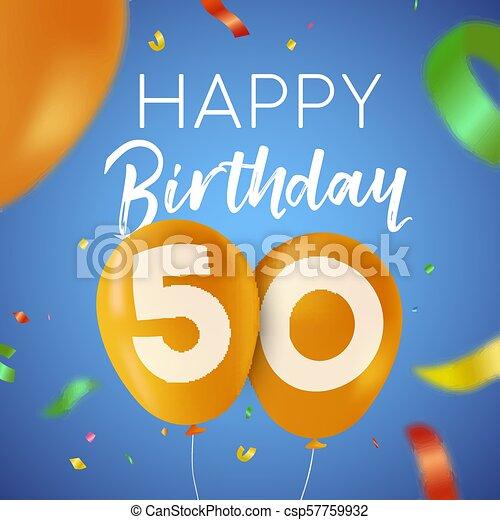 Feliz Cumpleaños 50 Con Tarjeta De Fiesta De 50 Años Feliz