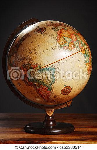 globo antique, cinzento, experiência escura, tabela - csp2380514