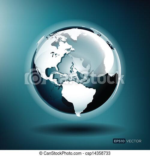 globo azul, ilustração, vetorial, lustroso, fundo - csp14358733