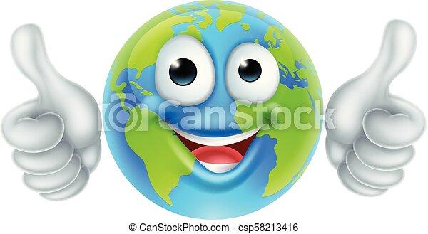 globo, carattere, su, giorno, pollici, terra, cartone animato, mascotte - csp58213416