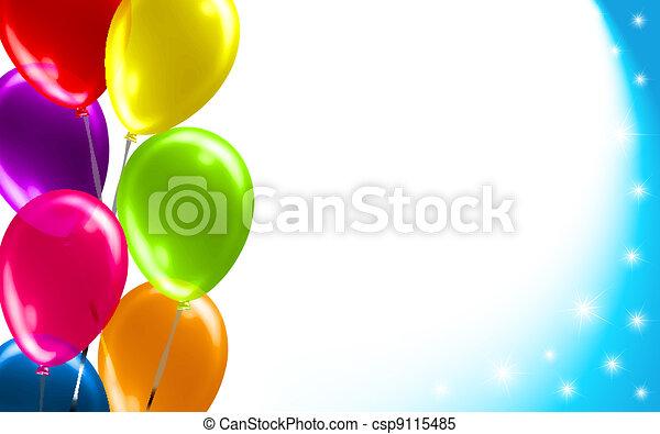 globo, cumpleaños, plano de fondo - csp9115485