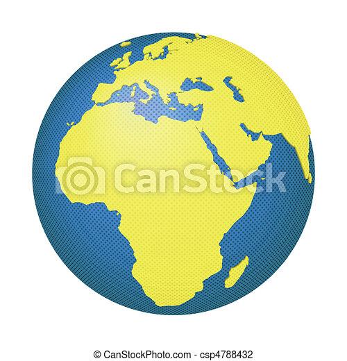 globo de europa, áfrica - csp4788432