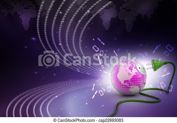 Tierra con cable de energía - csp22693083