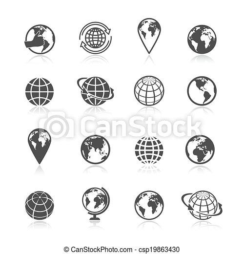 Los iconos de Globe Earth - csp19863430