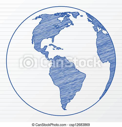 Globo Del Mundo Dibujo 3 Illustration Globo Sheet Bloc