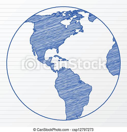 Globo Del Mundo Dibujo 6 Illustration Globo Sheet Bloc