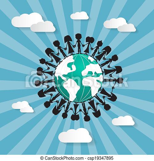 Gente sosteniendo sus manos alrededor del mundo - csp19347895
