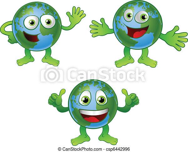 globo mondo, carattere, cartone animato - csp6442996