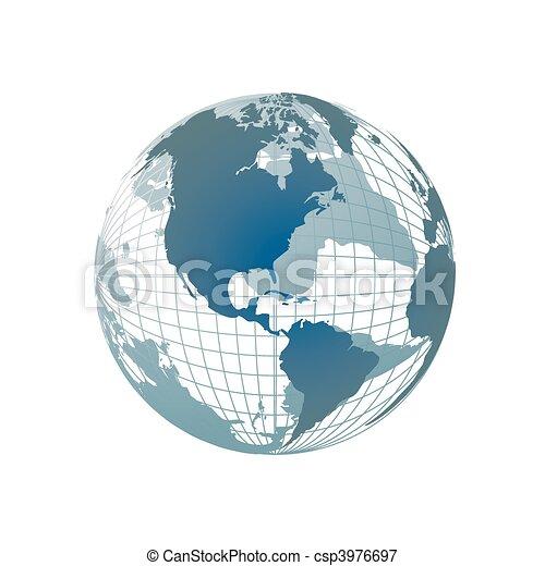 globo mundial, mapa, 3d - csp3976697