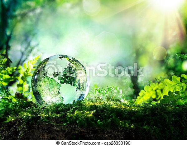 Globo de cristal en musgo en un bosque - csp28330190