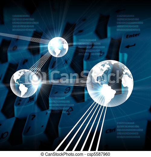 globo, ordenador teclado - csp5587960