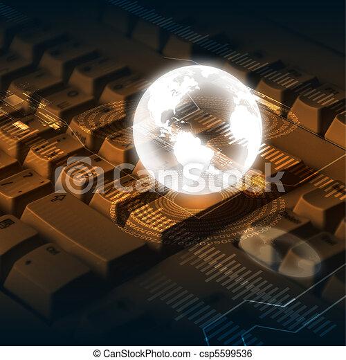 globo, ordenador teclado - csp5599536