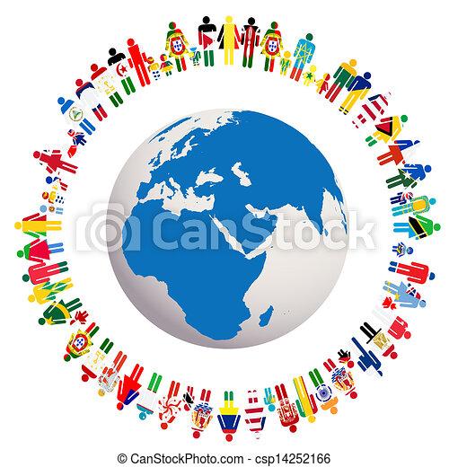 Vive en paz, ilustración conceptual de la Tierra Globe - csp14252166