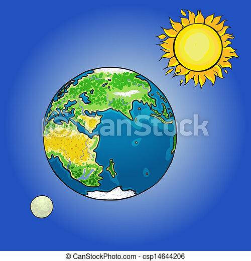 Clip art vectorial de globo sol luna  Vector ilustracin de