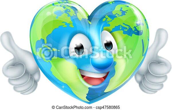 globo terra, carattere, cartone animato, cuore - csp47580865