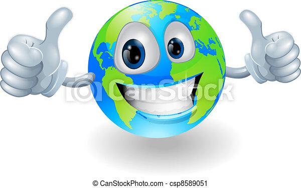 globo terra, mascotte, su, pollici - csp8589051